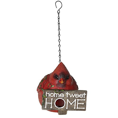Cheap Ivy Home Red Polystone and Plastic Portly Bird Feeder House