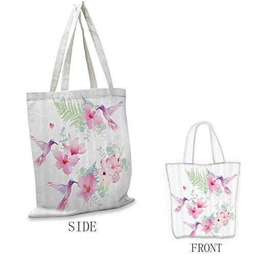 Tote, Foldable Floral Hummingbirds Tropical Flowers with Flying Hummingbirds Wild Nature Branches Blooms, 16.5