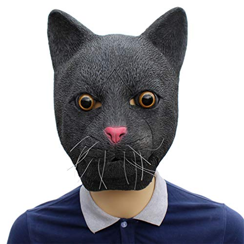 Novelty Funny Halloween Cosplay Party Costume Latex Animal Head Mask - Black Cat ()