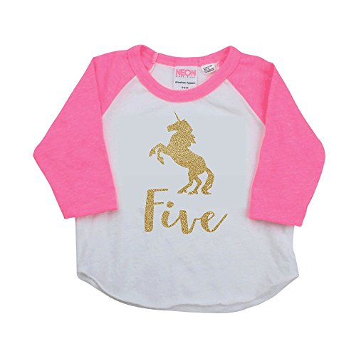 5 Year Old Unicorn Shirt, 5th Birthday Girl Outfit by Bump and Beyond Designs