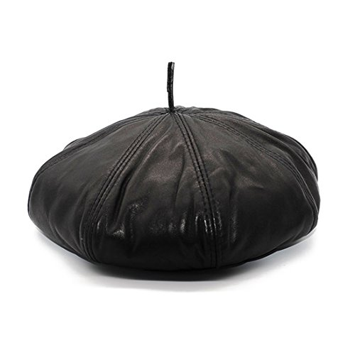 Mens Black Genuine Leather Painters Hat Beret Newsboy Cap (L)