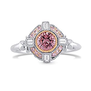 0.74Cts Pink Diamond Engagement Halo Ring Set in 18K White Rose Gold GIA Cert Size 6.25