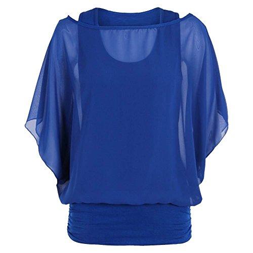 en 1 en Femme Soie Haut sans Manches Top 2 Mousseline Chemisier Janisramone De 2 Nouveau 1 en Bleu Royal qXnfCWY