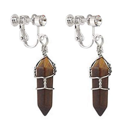 Tiger's Eye Clip on Earrings Drop Dangle Real Natural Amethyst Quartz Crystal Gemstone Wire Wrap Women Clip Tigers Eye Earrings