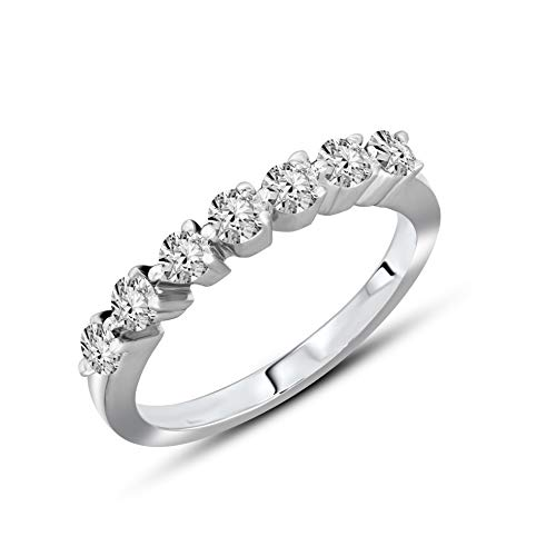 100% Pure Diamond Eternity Band Diamond Ring 3/8ct Lab Grown Diamond Engagement Rings For Women Lab Created Diamond Rings SI2-I1-HI 14K Real Diamond Band Rings Size-6 Diamond Jewelry