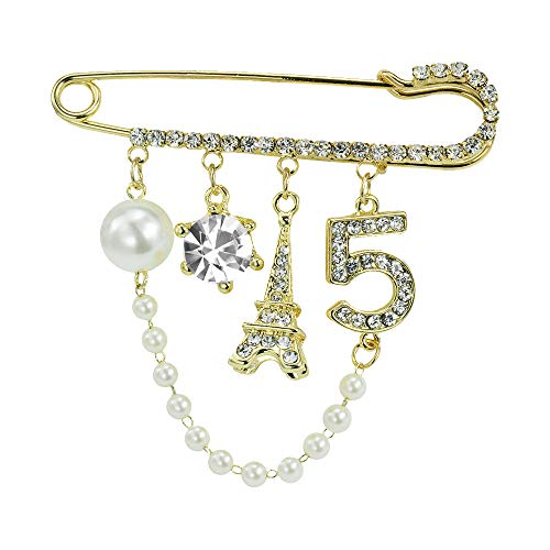(Mamfous Vintage Crown Number 5 Lapel Pins and Brooches for Women Rhinestone Jewelry with Simulated Pearl)