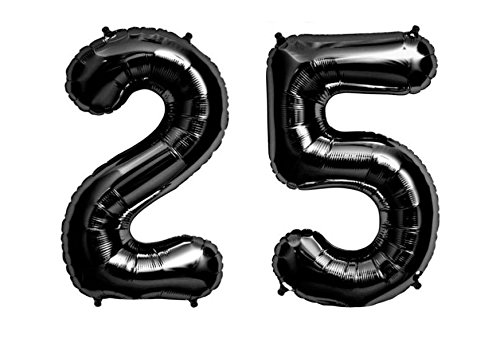 C-Spin 40 INCH Big Large 25 Black Number Foil Balloon 40