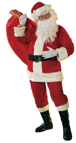 [Rubie's Velour Santa Suit With Beard And Wig, Red/White, X-Large] (Extra Large Santa Suit)