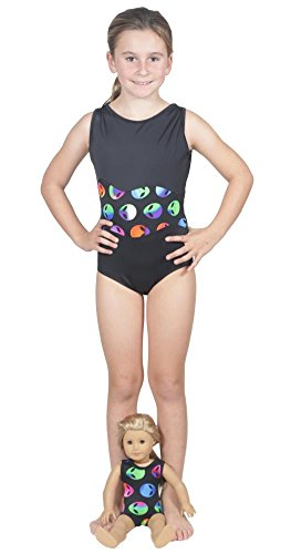 Price comparison product image Delicate Illusions Girls Sleeveless Tank Fitness Gymnastics Leotard and Matching 18 inch Doll Leotard S (4-5 yrs) Black/Aliens