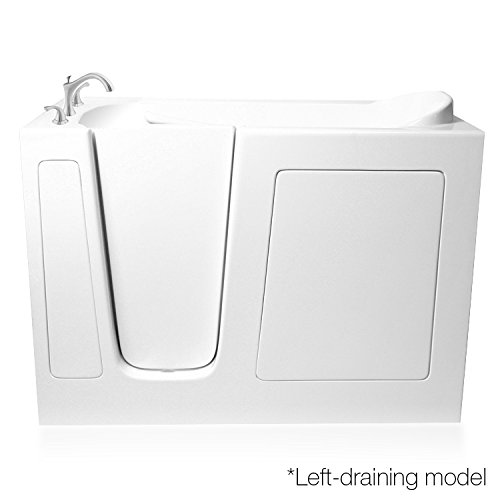 Ariel Bath EZWT-3052- Dual- L White Walk-In Bathtub With Left Side Opening and Drain