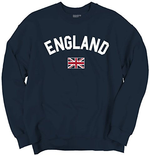 Brisco Brands England Flag World Cup Soccer English National Flag Pride Crewneck Sweatshirt