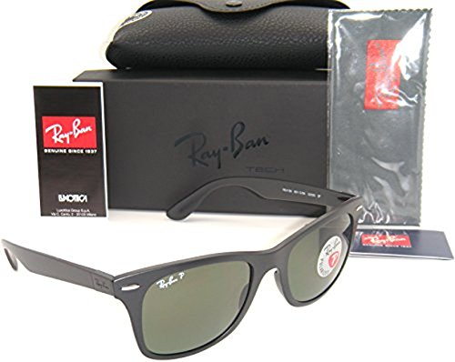 Ray-Ban Wayfarer Liteforce RB4195 Sunglasses Matte Black / Polar Green 52mm & Cleaning Kit - Liteforce Ray Ban Wayfarer