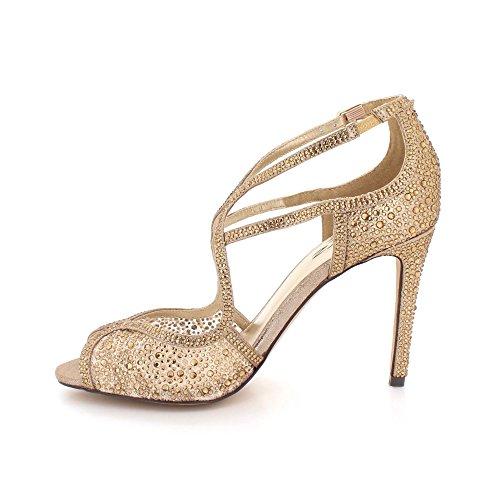 Chaussures Sandales Toe Taille Marron Talon Peep Bal des Haut Soir Mariage de Dames mariée Femmes Fête Diamante De wSZp6