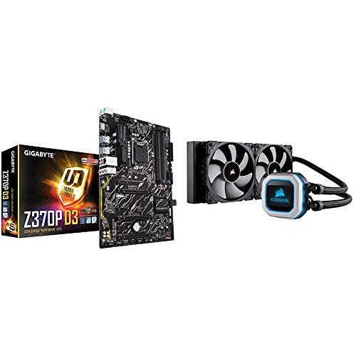 GIGABYTE Z370P D3 (Intel LGA1151/ Z370/ ATX/M.2/ GbE LAN 25KV Protection/HDMI/Motherboard) and CORSAIR HYDRO SERIES H100i PRO RGB AIO Liquid CPU Cooler, 240mm Radiator, Dual 120mm ML Series PWM Fans