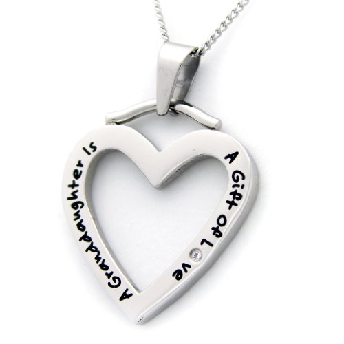 Rush Industries A Granddaughter Is A Gift Of Love Heart Shaped Pendant Necklace Cubic Zirconia - Granddaughter Necklace