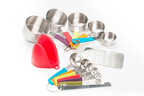 Measuring Cups and Spoons Set by My Legacy Kitchen Collection | 14 pcs Stainless Steel Baking Measurement Utensils With Nonslip Silicone Handles, Weigh Liquid and Dry Ingredients | Oven Mitt Included