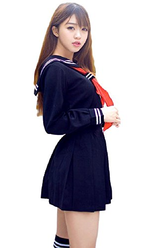 Asian Couple Costume Ideas (SPJ: Sailor Suit Cosplay Costume【Jacket+Skirt+Ribbon Tie+Socks】Orthodox School Girl)