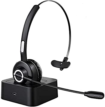 ESOLOM Auriculares Bluetooth V5.0 con Micrófono, Auriculares Inalámbricos con Base de Carga, Auriculares Profesionales Para PC con Reducción de Ruido, Manos Libres, Servicio Telefónico, Oficina: Amazon.es: Electrónica