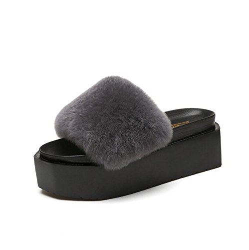 DANDANJIE Lady brown green Home Slippers shoes New amp; black Flip gray Fluffy Shoes Women with Flat Thick Bottom Flat Grey Fur Slippers Faux Flops fXX1RwrnxT