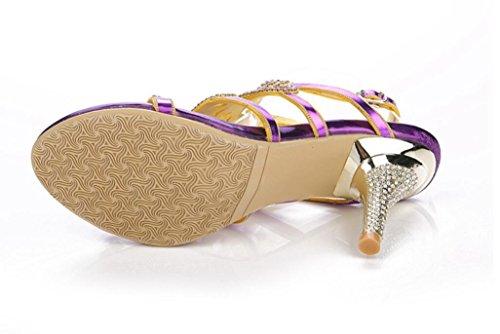 8cm Dames Fête Violet Facile de Boucle Strass xie à à Boucle Été Talons Hauts Banquet Talons Sandales Finis Pierres qW1EgU
