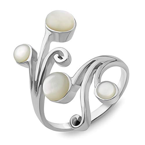 Sterling Silver Natural White Mother of Pearl Shell Vine Leaves Wrap around Band Ring Adjustable Size 6-10