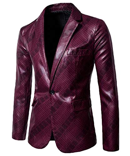 Domple Mens Slim One Button Casual Faux Leather Flap Pockets Blazer Jackets Coat Wine Red 2XL