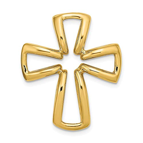 14K Yellow Gold 3-D Polished Puffed Outlined Religious Themed Cross Charm Necklace Pendant with 18