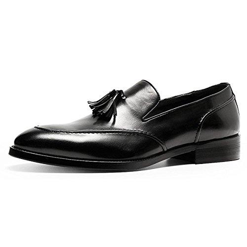 Casuale Maschi Scarpe Black Mocassini da Stringate Cuoio Uomo Appuntito Inghilterra Affari Scarpe Nappe di YIWANGO Rq0g88