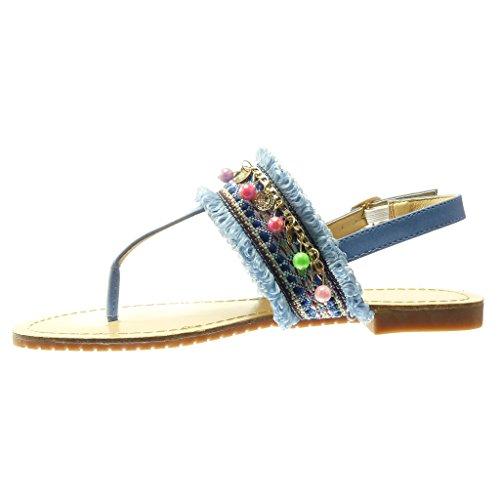 Angkorly - Scarpe da Moda sandali infradito cinturino donna ricamo gioielli fantasia Tacco tacco piatto 1.5 CM - Blu