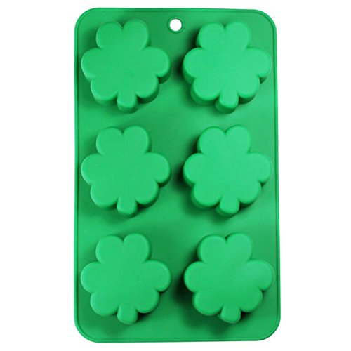 St. Patrick's Day Shamrock Clover Leaf 6 Cavity Silicone Mold Baking & Party Candy & Cake Making Molds