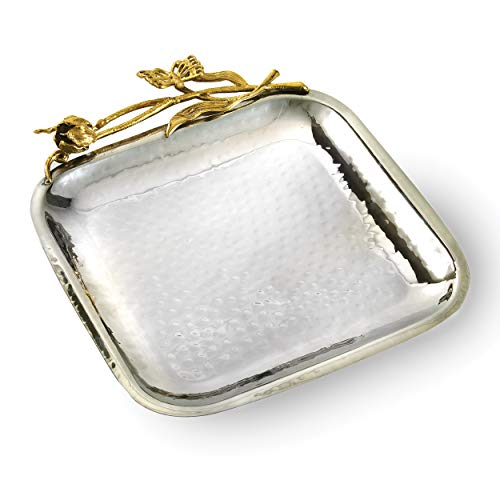 Elegance Butterfly Square Tray, 8.5″, Silver/Gold