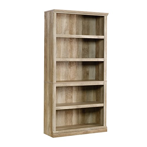 "Sauder 420174 5-Shelf Bookcase, L: 35.28"" x W: 13.23"" x H: 69.76"", Lintel Oak finish"