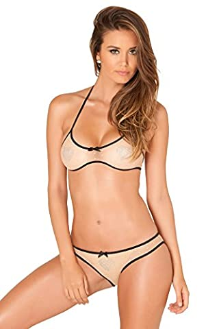 Rene Rofe Women's Lingerie Sexy Shiny Hearts Backless Clear Bra & Panties Set (Medium / Large) - Designer Sheer