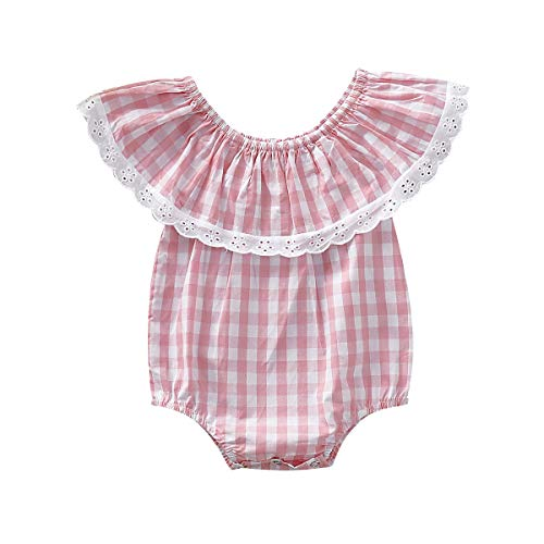 2019 Summer Infant Baby Girls Lace Ruffled Sleeveless Plaid Romper Pink Fresh Style Jumpsuit (Pink, 3-6 Months) ()