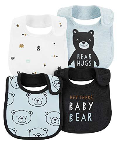 Carter's Baby Boys' 4-Pack Teething Bibs (Blue/Bear) ()