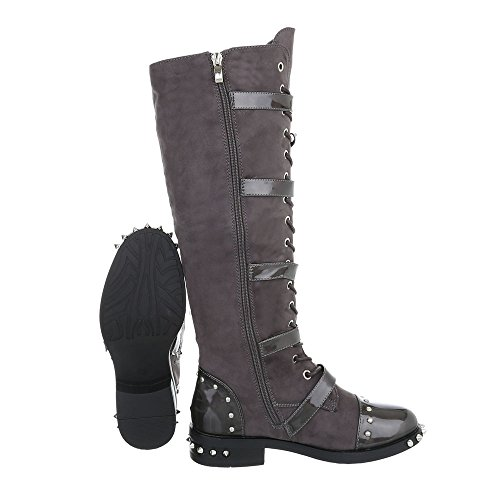 amp; Boots at A Women's Design Boots Grey Biker Block Ital 50 Cowboy Heel wAY8OHq