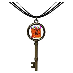 Chicforest Bronze Retro Style trick or treat Halloween candy Jewelry Vintage Key Pendant