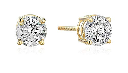 14k Yellow Gold Diamond with Screw Back and Post Stud Earrings (1/2 cttw, J-K Color, I2-I3 Clarity) (1 Carat Diamond Ring 14k Yellow Gold)