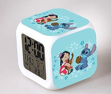 Zhuhuimin Dibujos Animados LED7 Color Flash Despertador