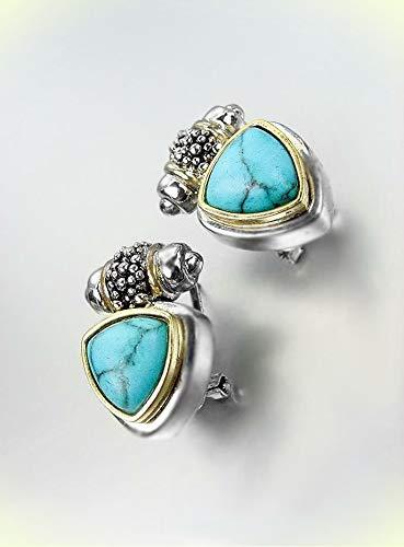 - NEW Designer BALINESE Silver Caviar Dots Blue Turquoise Stone Omega Earrings For Women Set