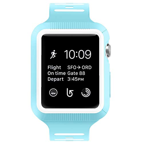 BRG Compatible with Apple Watch Band 38mm 42mm with Case, Silicone Sport Watch Band with Shock-Proof Protective Case Replacement for Apple Watch Series 3/2/1 Sport and Edition