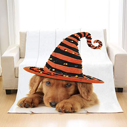 BEIVIVI Super Soft Warm Cozy Blanket A Cute Halloween Puppy On a White Background Super-Soft, Wrinkle-Resistant Blankets]()