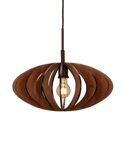 (Woodbridge Lighting 14023MEB-W1D1CH Canopy Cherry Wood Pendant, Metallic Bronze )