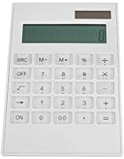 Lantro JS Biały kalkulator o podwójnej mocy, kalkulator, z kryształowym przyciskiem, wytrzymały na biurko uczniów