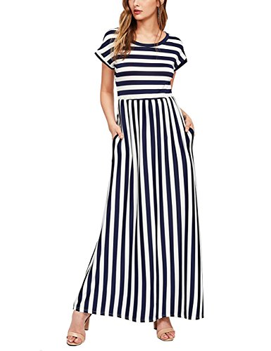 Charming House Women's Strip Dress, Long Maxi Dresses for Womens with Sleeves and Pockets (Navy, Small) (Charming House)