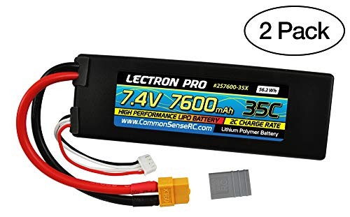 (2 Pack) Lectron Pro 7.4V 7600mAh 35C Lipo Battery with XT60 Connector + CSRC Adapter for XT60 Batteries to Popular RC Vehicles for 1/10 Scale Cars, Trucks, and Buggies