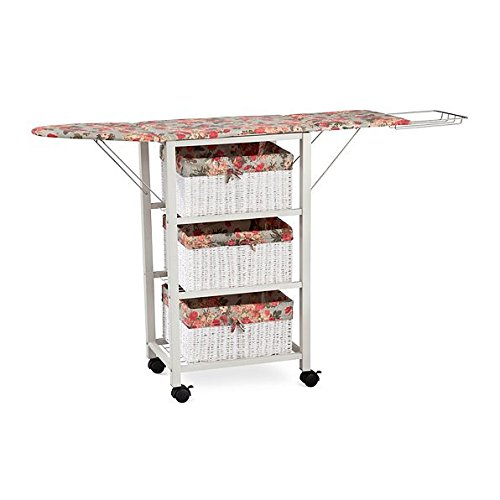 Floral Pattern Ironing Board Center Iron Station Laundry With Storage Baskets by DermaPAD