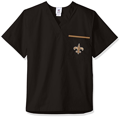 NFL Scrub Dudz Solid Scrub Top, New Orleans Saints, - New Large Scrubs