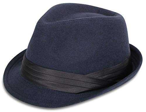 Simplicity Unisex Fedora Hats for Men Unisex Manhattan Dark Blue Fedora