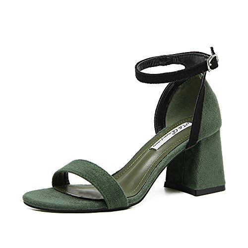 SHOESHAOGE High-Heeled Zapatos, Sandalias con Gruesos con Costuras Dew-Toe Color Alumnas Solo Zapatos Zapatos Hollow,Eu38 EU36
